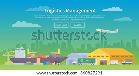 Vector web banner on the theme of Logistics, Warehouse, Freight, Cargo Transportation. Storage of goods, Insurance. Maritime port. Save storage. Modern flat design. - stock vector