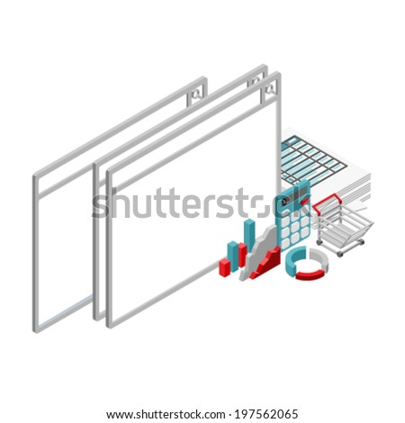 vector web browser with 3d vector Isometric office objects - stock vector