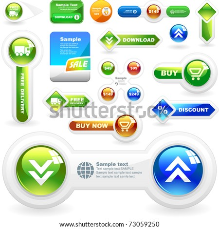 Vector web button. Download icon. Guarantee label. Best collection. - stock vector