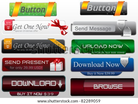 Vector Web Buttons For Web Design - stock vector