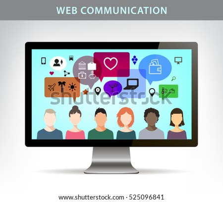 Vector web communication illustration, social net concept. People talking on different topics, realistic monitor of computer