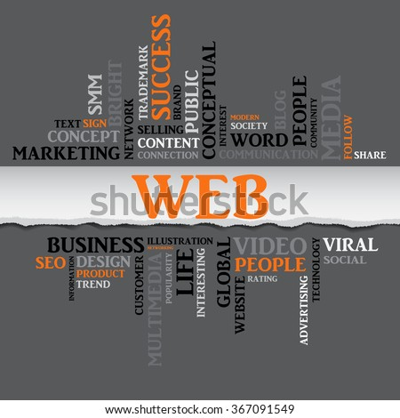 Vector WEB concept related words in tag cloud isolated on gray background with different association internet and business terms. The effect of torn paper - stock vector