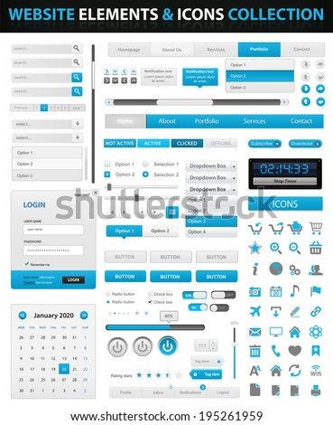 VECTOR Web Design Element and icons Site Navigation