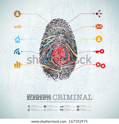 vector web design template - criminal theme finger stamp -  infographics - stock vector