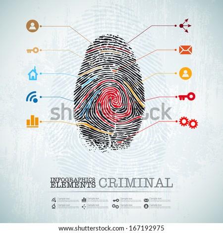 vector web design template - criminal theme finger stamp -  infographics - stock vector