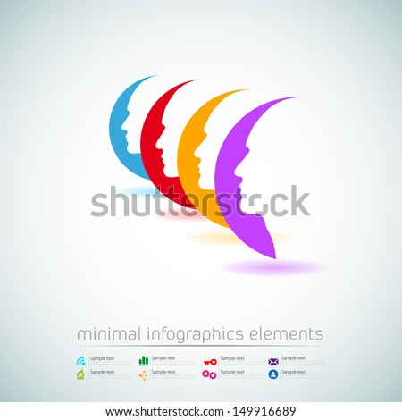 vector web design template - human heads in communication - info - stock vector