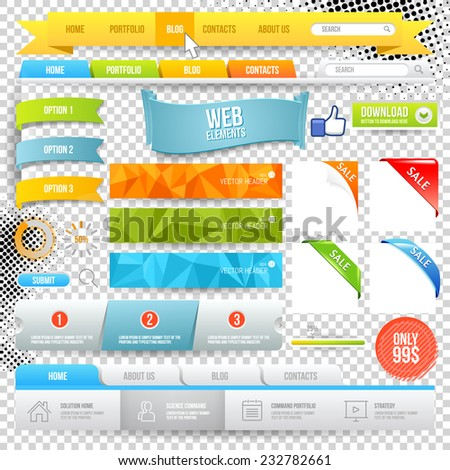 Vector Web Elements. Buttons, geometric banner backgrounds, options flags - stock vector