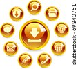 Vector web icon - email, phone, contact, service, search. Gold button for internet. - stock vector
