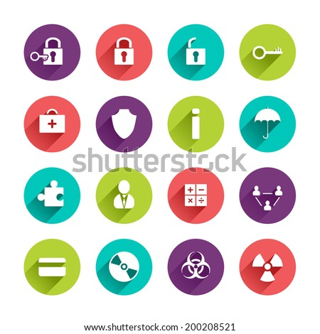 Vector Web Icons Set in Flat Design with Long Shadows on circle buttons with lock unlock key first aid kit shield umbrella puzzle user calculator team credit card disk hazard radioactivity signs - stock vector