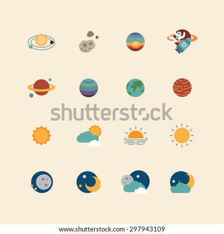 vector web icons set - space sun and moon collection of flat design elements. universe concept. - stock vector