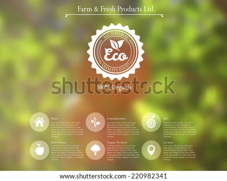 vector web interface template and mobile app design with retro label for organic food and  blurred effect background - stock vector