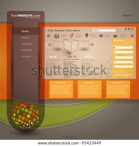 Vector Web Site Design, Template. - stock vector