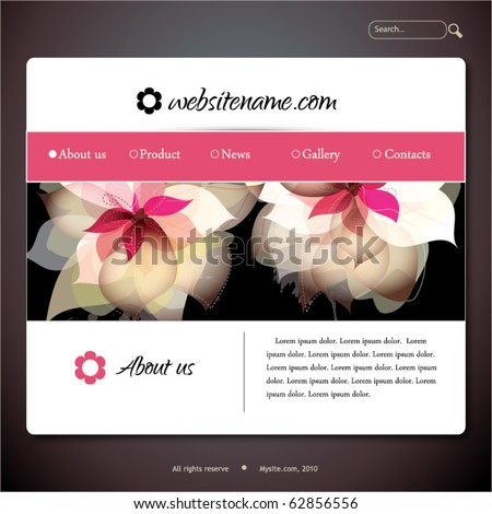 Vector web site design template with flowers - stock vector