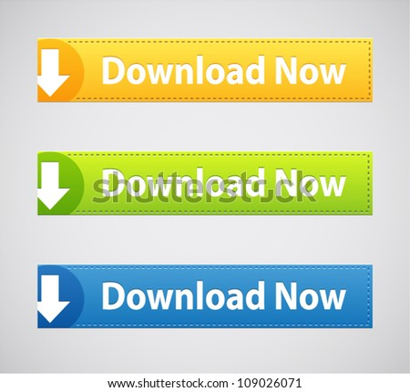 Vector Web site download buttons with arrows in different colors - stock vector
