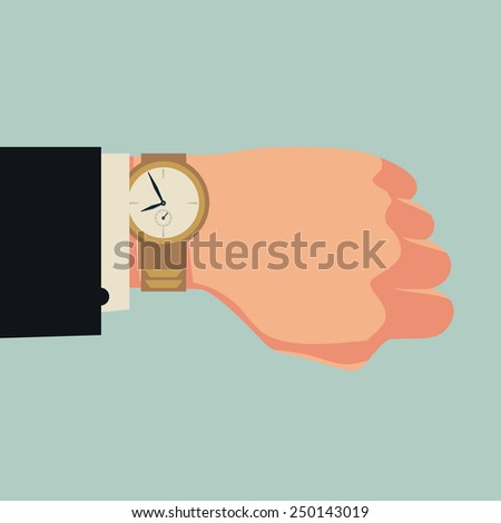 Vector web square icon on hand with wrist watch | Hand of male businessman in black suit checking time on his watch - stock vector
