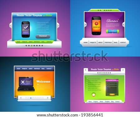 Vector Web Template Home Page Slider Collection - stock vector