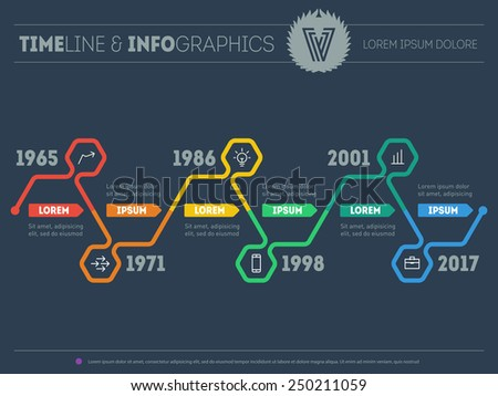 Vector web template of Infographic timeline with icons and design elements on dark background. Time line of tendencies and trends. - stock vector