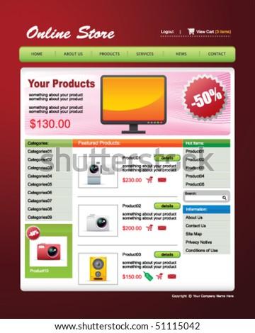 vector Web Template -- Online Store - stock vector