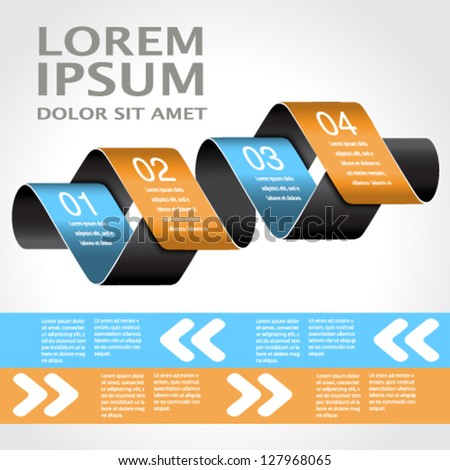 Vector web template -  4 steps, options, banners, website layout - stock vector