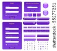 Vector web template with forms, bars, buttons and many icons. - stock vector