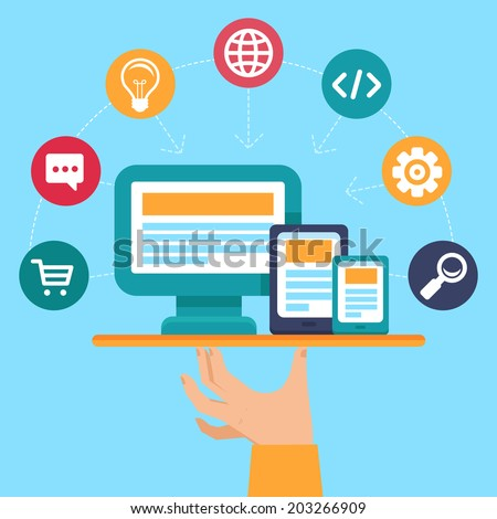 Vector webdesign and programming service - concept illustration in flat style - stock vector
