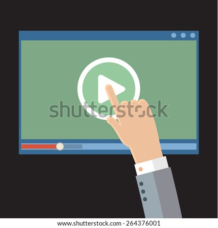 Vector webinar concept in flat style. Video player. Online education
