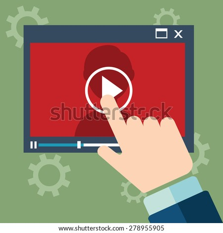 Vector webinar concept in flat style - video player - online education - stock vector