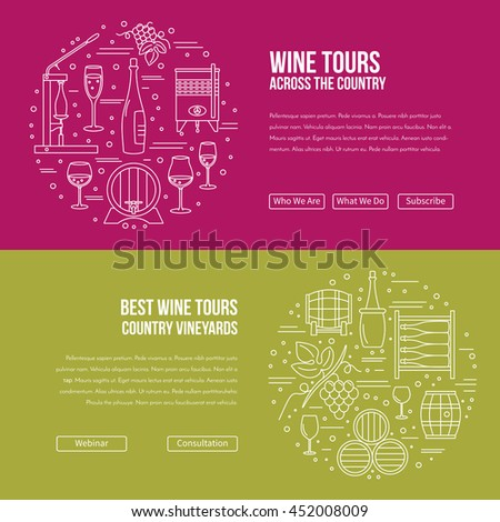 Vector website banner landing page template with buttons. Design elements of grape cultivation, wine making, alcoholic beverage sales and wine tasting. Isolated winery symbols in flat, thin line style - stock vector