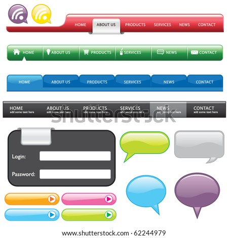 Vector Website Button and Form and bubble - stock vector