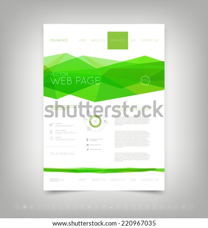 Vector website design template with bright green polygonal background - stock vector
