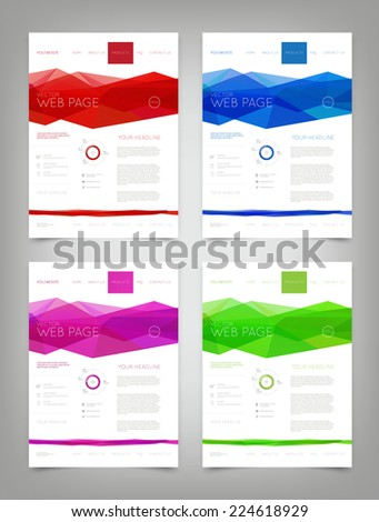 Vector website design templates collection with bright colorful polygonal backgrounds - stock vector