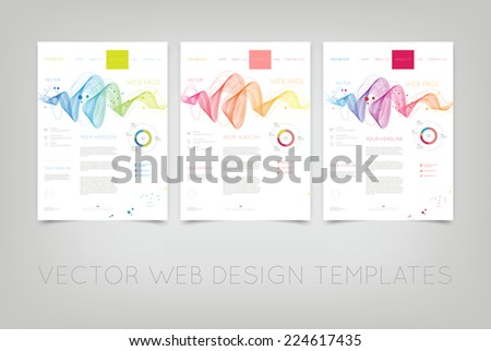 Vector website design templates collection with colorful dynamic wave backgrounds  - stock vector