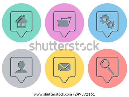 Vector website menu icons on round colorful buttons - stock vector