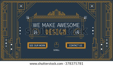 Vector website slider template in thin line. Trendy art deco style. Flat creative design of slide image concept, site element layout. About us card typography. Art deco sing button. - stock vector