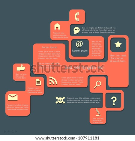 Vector Website Template. Retro style design - stock vector