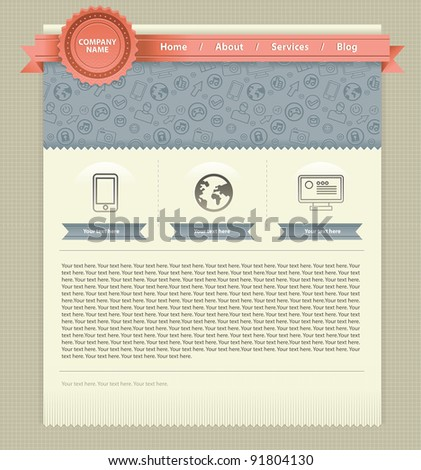 vector website template with retro design elements - stock vector