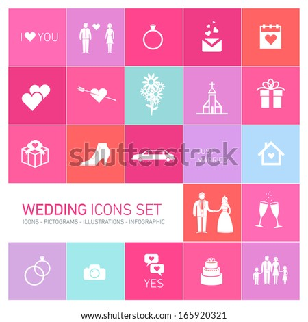 Vector Wedding Valentine Romantic Icon Pictogram Stock Vector ...