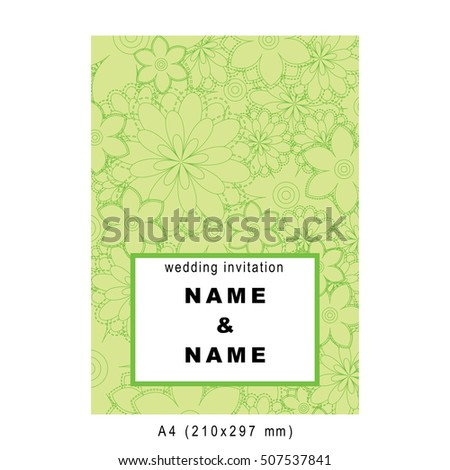 Vector wedding bridal invitation template card decorated with floral elements