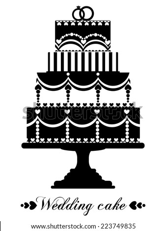 Vector wedding cake for Wedding invitations or announcements  - stock vector