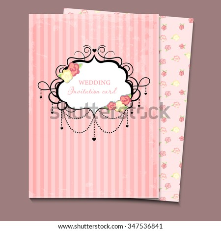 Vector wedding card or invitation. a4 - stock vector