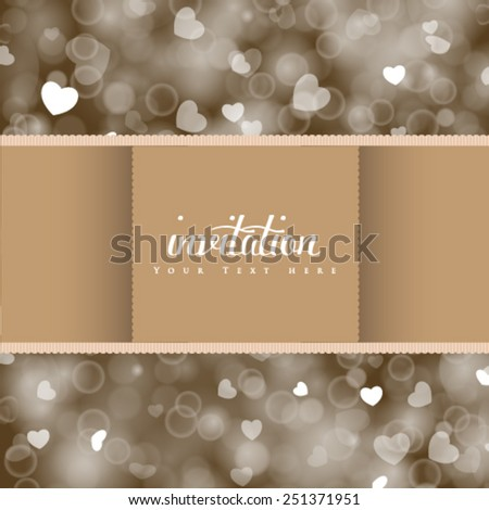 Vector wedding card or invitation, shiny hearts bokeh light background. Perfect as invitation or announcement. - stock vector