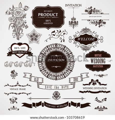 Vector wedding design elements and calligraphic page decoration - stock vector