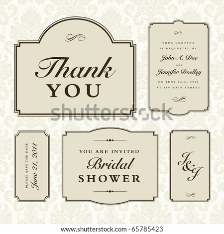 Vector Wedding Frame Set - stock vector