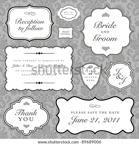 Vector Wedding Frame Set. Easy to edit. Perfect for invitations or announcements. - stock vector