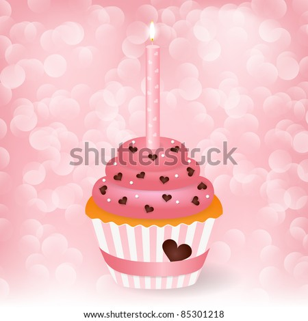 Vector wedding greeting card with cupcake - stock vector