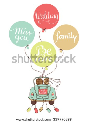 Vector wedding illustration with car, newlyweds and balloons! Can be used for wedding decoration - stock vector