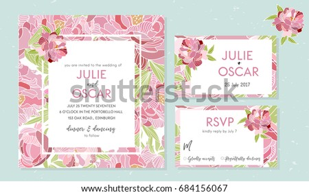 Vector wedding invitation card modern contemporary stock vector vector wedding invitation card modern contemporary unique peony pattern flower stopboris Image collections