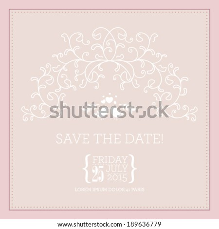 Vector wedding invitation card. Perfect as invitation or announcement. - stock vector