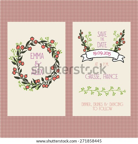 Vector wedding invitation card template with hand drawn floral wreath and borders. Beautiful design of a two-paged card.