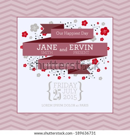 Vector wedding invitation card with abstract floral background. Perfect as invitation or announcement. - stock vector